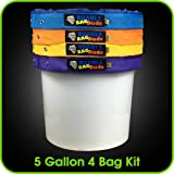 BUBBLEBAGDUDE Bubble Bags 5 Gallon 4 Bag Set - Herbal Ice Bubble Bag Essence Extractor Kit - Comes with Pressing Screen and Storage Bag
