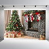 Qian Merry Christmas Photography Backdrop Christmas Tree and Gift Socks Hang Fireplace Photo Xmas Background Studio Props Booth Vinyl 7x5ft (Color: Christmas 1)