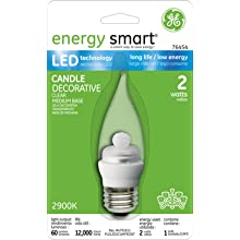 GE Lighting 76454 Energy Smart LED 2-Watt (10-watt replacement) 60-Lumen Bent Tip Light Bulb with Medium Base, 1-Pack