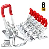 Eliseo Adjustable Toggle Clamp, 6Pack 360lbs Holding Capacity Heavy Duty 4001 Style Toggle Latch Hasp Clamp for Door, Box Case Trunk, Smoker Lid, Jig. Quick Release Pull Latch, Sturdy Metal Draw Latch (Color: Silver)