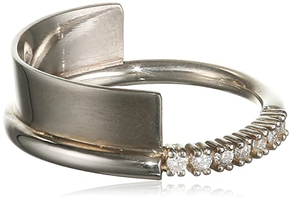 Ha-Yeon Lee  925 Sterling Silver White Diamonds Pave Setting Half Wall Ring
