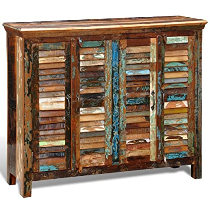 Anself Vintage Sideboard Antik Kommode aus Holz mit 4 Turen und 4 Fächern 125 x 40 x 107 cm Bunt