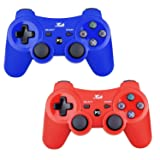 2 Pack Bluetooth Wireless Controller for PS3 Controller Double Shock Gamepad 6-Axis Game Controller for PlayStation 3 Bonus 2 Charging Cable by Kabi(Red+Blue) (Color: Red+Blue)