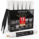 ARTEZA Liquid Chalk Markers Set of 12 (White Color, 12 Replaceable Chisel Tips, 1 pc Tweezers) - Washable - Water-Based - White Liquid Chalkboard Markers (Color: White)