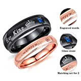 Fate Love Jewelry 2Pcs Matching set Stainless His Queen & Her King Black/Rose Gold Couple Rings Bands, Love Gift (Color: Black)
