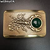 Buckes - Brand 3D Scorpion Inlaid Jade Solid Brass Men Women Belt Buckles with Rectangle Metal Cowboy Belt Head