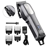 Professional Hair Clippers for Men, BESTBOMG Rechargeable Cordless Hair Cutting Kit, Home Barber Hair Trimmer with Precision Blades Heavy Duty Motor LED Display and 2000mAh Lithium Battery (Color: Black)