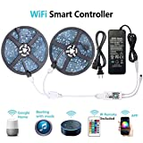 WenTop LED Light Strip, WiFi Wireless Smart Phone Controlled RGB Led Strip Lights Kit UL Led Lights 32.8ft(10M) 300leds LED Strip,Works with Android and iOS System,IFTTT,Google Assistant and Alexa (Color: Smart Phone Controlled Non-waterproof)
