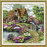 De.De. Cross Stitch Kit DIY Beautiful Garden Flowers Cross Stich Dining Room Decorative Painting 22.04