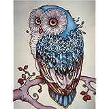 AIRDEA DIY 5D Diamond Painting Kit, Full Diamond Owl Embroidery Rhinestone Cross Stitch Arts Craft Supply for Home Wall Decor (Color: Owl)