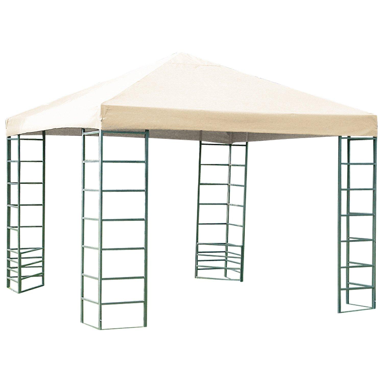 Gartenpavillon RIMINI 3×3 Meter, Stahlgestell mit Dachplane naturfarben wasserdicht günstig kaufen
