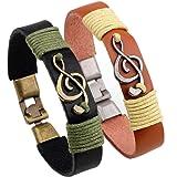2PCS Couple Music Note Charm Leather Bracelet Cuff For Men and Women (Color: 2 PCS)