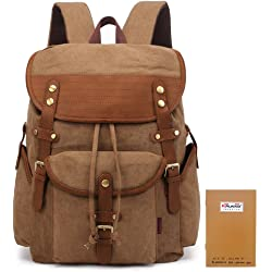 Kaukko Vintage Stylish Canvas Travel Mens Backpack - Khaki