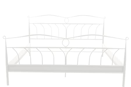 AC Design Furniture H000010205 Lis Cama de metal, 140 x 200 cm superficie, sin somier, aproximadamente 146 x 100 x 208 cm, lacado blanco mate