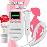 Hear Your Baby's Heartbeat with Fetal Doppler Heart Rate Pocket Monitor Sound Amplifier for Home Use Prenatal Womb Probe Detector Pregnancy Gift For New Mom + European Cream For Pregnat Women + E-Book (Color: Pink, White)