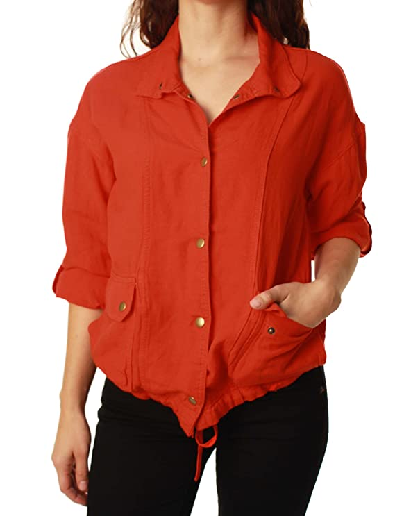 Lucky Brand Women's Rolled Sleeve Linen Jacket