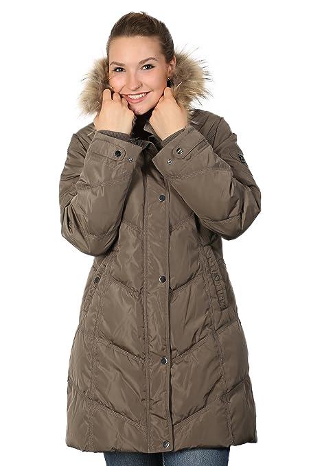 Tolle warme Daunenjacke mit Fellkragen von Saki in cooler Form Trendfarbe taupe