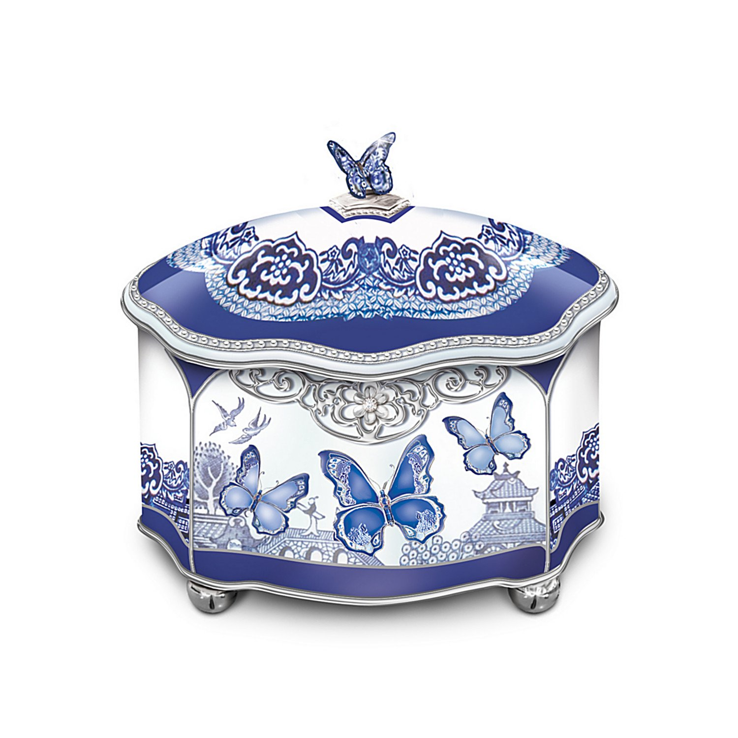 Blue Willow-Inspired Flights Of Love Heirloom Porcelain Butterfly Music Box by The Bradford Exchange