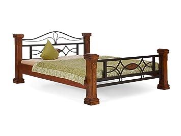 massivum Bett Byzanz 200x200cm Rubberwood braun gebeizt und lackiert