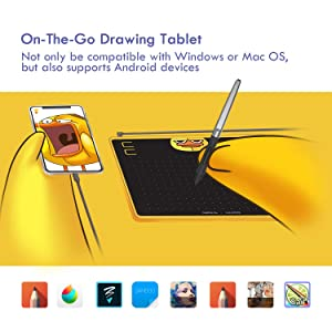HUION HS64 Drawing Tablet, Chips Special Edition, Graphics
