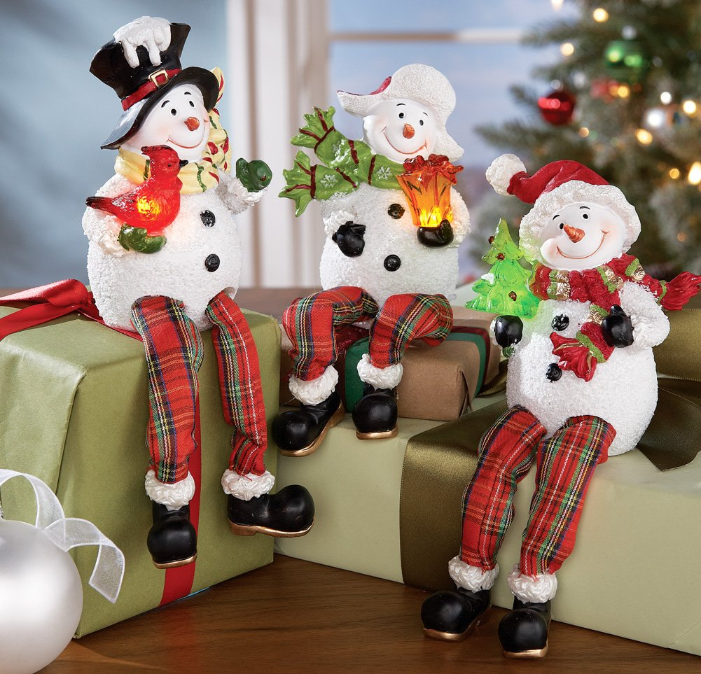 Set Of 3 Lovable Lighted Winter Snowman Decorative Sitters