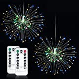 LED Fairy String Light Starburst with Remote Control Decorative Lights Bulbs Christmas Light Hanging 2 Pack Waterproof 8 Modes 120 LED Starry Lights Patio Fireworks Battery Operated Indoor Lighting (Color: decoration light)