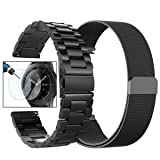 Valkit for Galaxy Watch (46mm) Bands, 2-Pack 22mm Stainless Steel Band + Milanese Loop Mesh Strap Replacement Metal Band Brecelet Sets, Compatible Samsung Galaxy Watch 46mm SM-R800 Smartwatch, Black (Color: Black+Black, Tamaño: For Galaxy Watch 46mm)