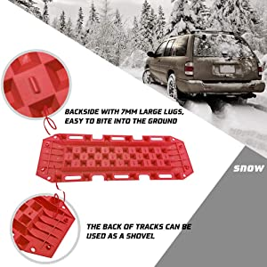 Sand BUNKER INDUST Traction Tracks Boards Snow-Red Track Tire Ladder 2 Pcs Traction Mat Recovery Tool for Off-Road 4X4 Mud