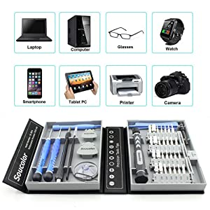 Soucolor 41-Piece Precision Screwdriver Set, Magnetic Driver Kit, Repair Tool Kit and Anti-static Wrist Strap for iPhone, Cell Phone, Tablet, iPad, PC, Laptop, MacBook, Electronics Disassembly