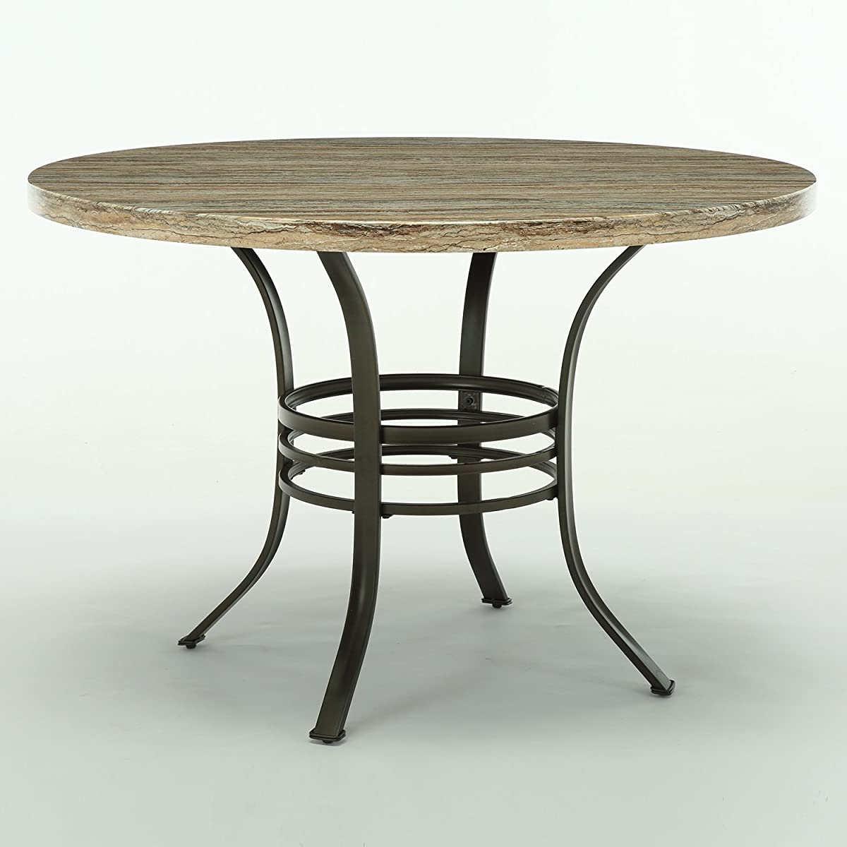 """Bestmart Inc 45"""" Diameter Round Dining Table Kitchen Pub Bistro Bar Breakfast Table w/ Faux Wood top Metal Frame"""