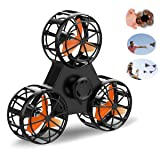2018 New Toys Flying Fidget Spinner Drone Funny Interactive Fidget Handheld Rotation Triangle Toys for Anti-Anxiety ADHD Stress Relief and Family Interactive Games for Kids Adults Outdoor (Black) (Color: Black)