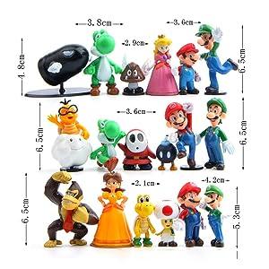 28 Piece Super Mario Bros Super Mary Princess, Turtle, Mushroom, Orangutan , Super Mario Action Figures, 2 (Color: Colorful, Tamaño: 1.8-2.6 Inch)