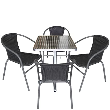 5tlg. Gartengarnitur Balkonmöbel Terrassenmöbel Set Sitzgruppe Poly-Rattan Stapelstuhl Aluminium Bistrotisch 60x60cm