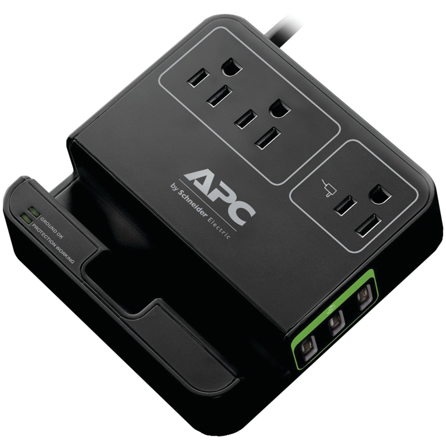 APC P3U3B Essential Surge Arrest, 3 Outlets, 3 USB Charging Ports, 120V, Black