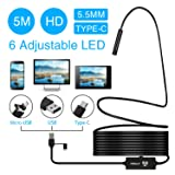 3 in 1 USB Endoscope Camera HIRALIY Semi-Rigid Type C Borescope Inspection Camera HD Waterproof Snake Camera with 6 Adjustable Led Light for Android Smartphone, Tablet & PC-16.4ft