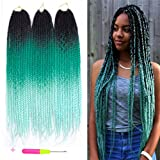 Box Braids Crochet Hair Extensions 100g/pcs Kanekalon Three Tone Ombre Braiding Hair Synthetic Crochet Box Braids (24 inch 3 pcs, 1b/green/light green) (Color: 1b/green/light green, Tamaño: 24 inch 3 pcs)