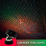 Auto Roof Ceiling Decoration Colourful LED Star Night Lights Projector Atmosphere Lamp Car Top Ceiling Star Lights Armrest Box Interior Ambient Atmosphere for Car/Home/Party (Red+Green) (Color: Red+green)