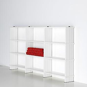 NIKKA Bibliothèque modulables,Étagère blanc Flancs BLANC cm. 270 x136 h x 30