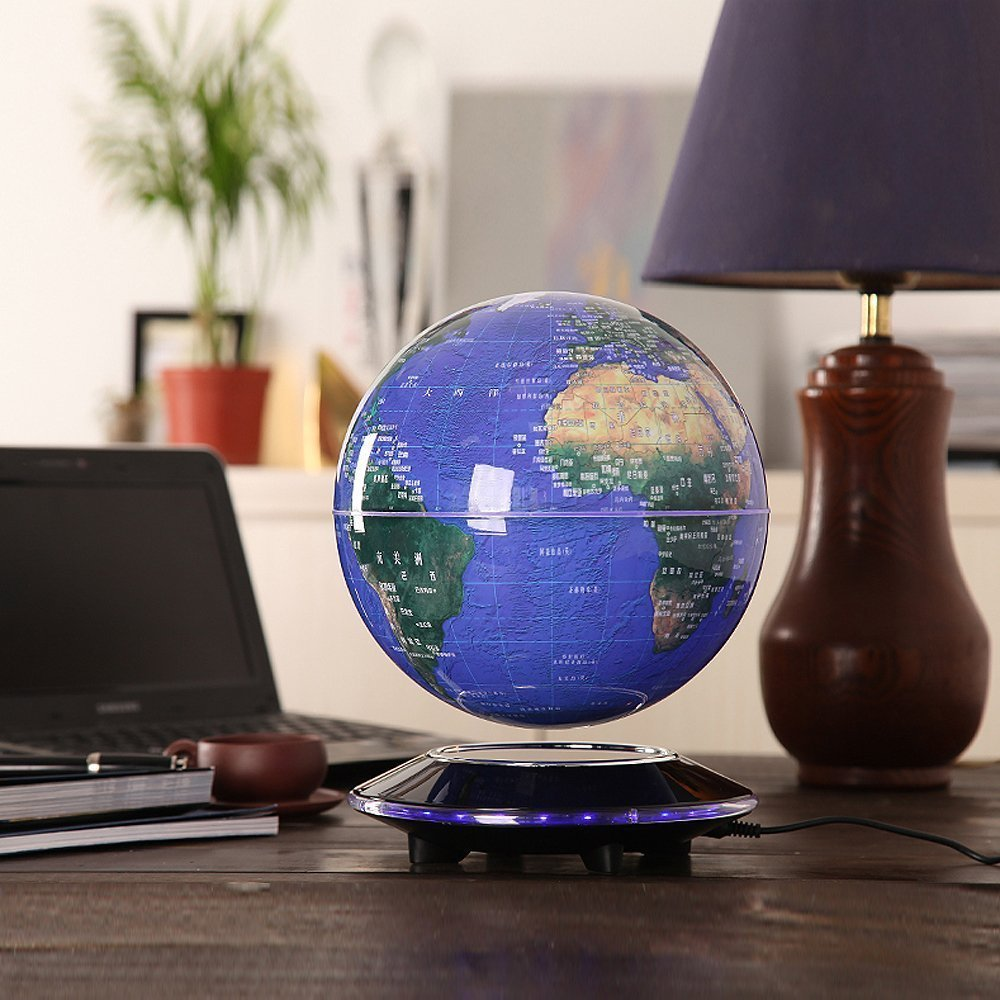 Senders 6Inch Floating Globe with LED Lights Magnetic Levitation Floating Globe World Map for Desk Decoration (Blue,6Inch) 3