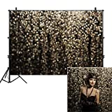 Allenjoy 8x6ft Gold Bokeh Spots Backdrop for Selfie Birthday Party Pictures Photo Booth Shoot Graduation Prom Dance Decor Wedding Vintage Astract Glitter Dot Studio Props Photography Background (Color: bokeh gold, Tamaño: 8'x6' Durable Fabric)