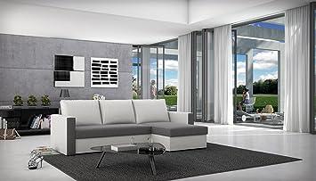 SAM® Schlafsofa, Couch BESIANA in grau weiß, Wohnzimmer Ecksofa in 236 x 145 cm, inklusive Ruckenkissen, ausziehbare Schlafcouch, beidseitig montierbarer Ottomane, angenehme Polsterung