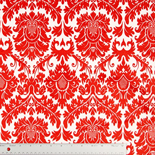 Red And White Fleur-De-Lis Minky Fabric - By The Yard front-660309