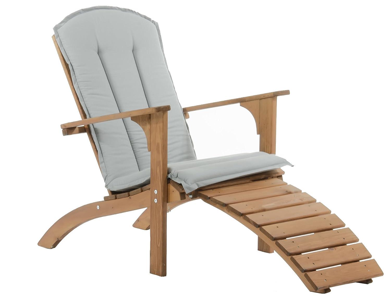 Ambientehome Adirondack Chair Deckchair Liege Gartenliege Massivholz inkl. Fussteil mit Kissen FALUN, braun