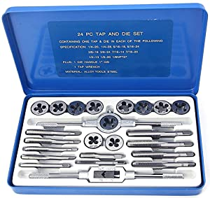 NORTOOLS Alloy Steels Tap and Die Set SAE Inch Sizes Essential Threading Home Tool Cutting Threads Gauge Kit with Storage Case for Occasional Use 24/40-Piece (Color: Set_1, Tamaño: onesize)