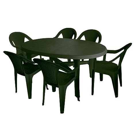 7tlg campeggio mobili giardino set in plastica 165x 110cm giardino tavolo ovale sedia impilabile sedia da giardino in plastica Salottino salotto da giardino verde