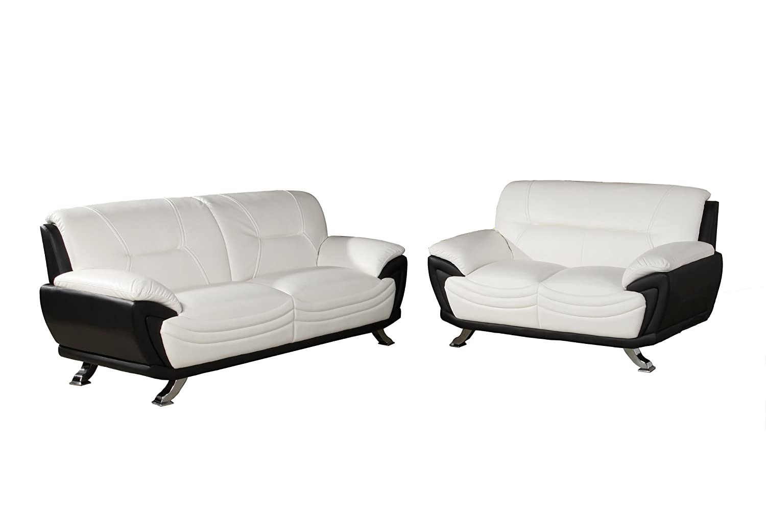 Beverly Furniture Hamm Contemporary Faux Leather 2-Piece Sofa and Loveseat Set - White/Black