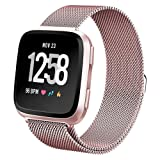 hooroor for Fitbit Versa Bands Women Men Small Large, Milanese Loop Stainless Steel Metal Sport Replacement Bracelet Strap with Magnet Lock Wristbands for Fitbit Versa Smart Watch (Rose Gold, Small) (Color: Rose Gold, Tamaño: Small)