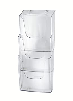 aus Acrylglas // Plexiglas/® DIN Lang Prospektbox // Prospekthalter // Flyerhalter im Hochformat mit Deckel wetterfest f/ür Au/ßen