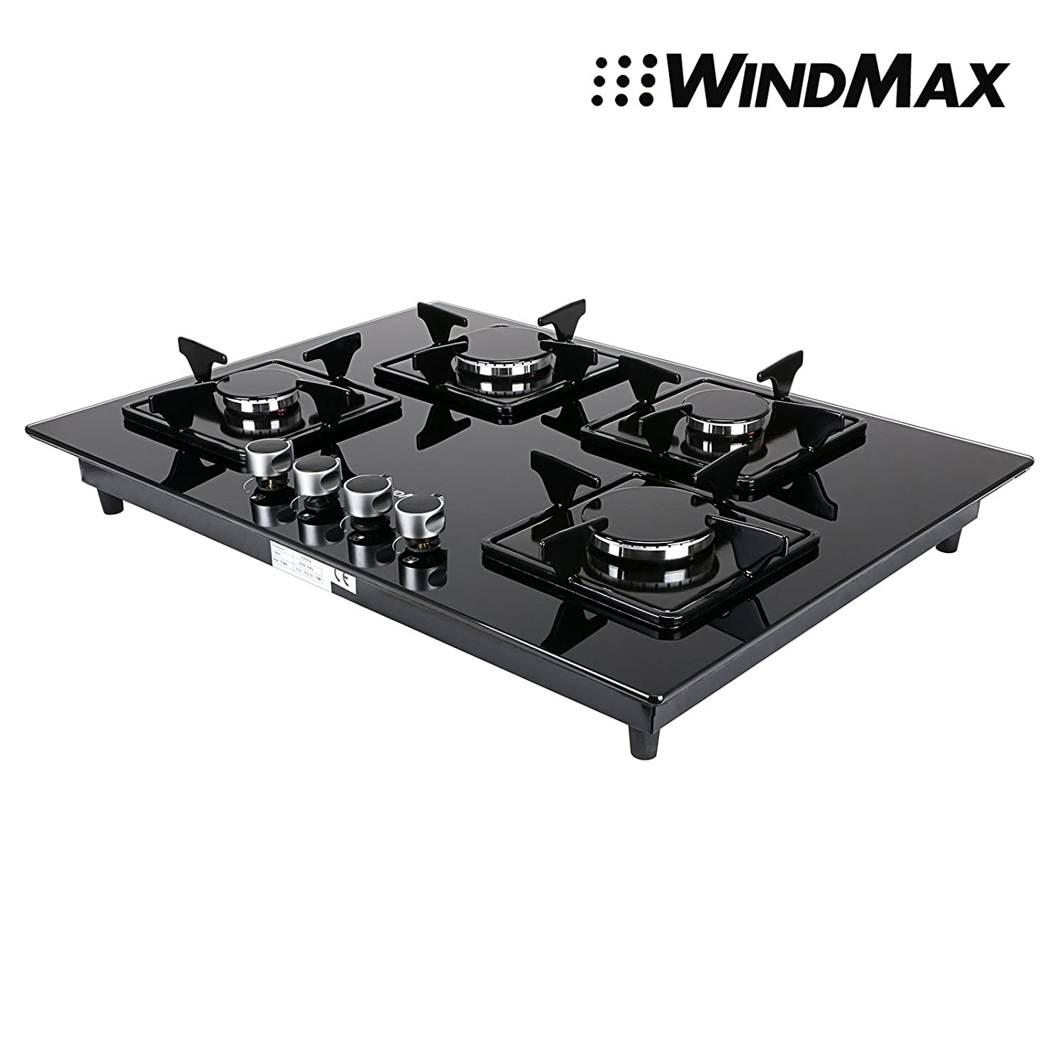 "Euro Style 28"" Black Glass 4 Burner Built-In Stove NG Natural Gas Cooktop Cooker"