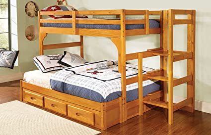 Twin Over Full Staircase Bunk Bed Promo with Trundle, Entertainment Dresser and Bookshelf in Honey Finish